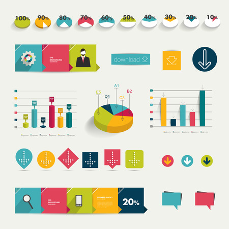column chart: Collection of colorful flat infographic elements  Business vector shapes