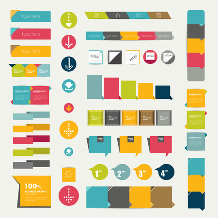 Collections of infographics flat design diagrams  Various color schemes, boxes, ribbons, speech bubbles for print or web design  Vector illustration   Stock Vector - 28675897