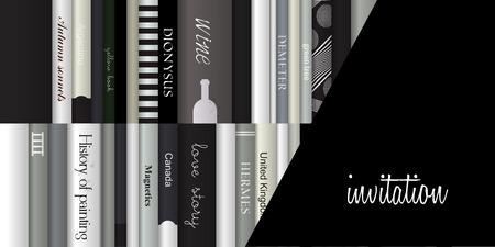 wine book: Invitation template  Exclusive black invitation card  Book design