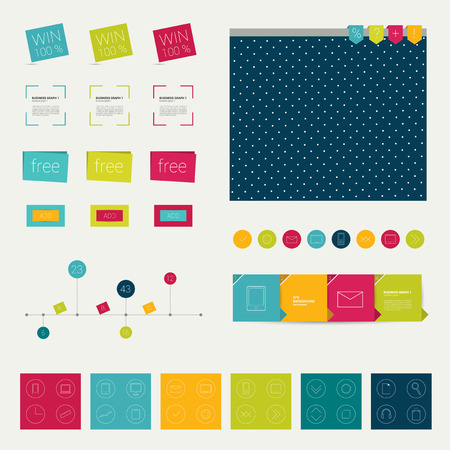 Set of simply minimalistic flat infographic elements  Vector flat and lined shapes   Vector