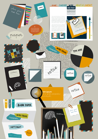 Work office web layout  Colorful flat graphic template  Folder, sticker, graph, tab, data, bubbles set  Vector background   Vector