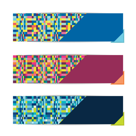 A set of three modern vector banners  Pixel art background   Vector