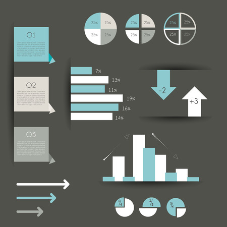 Minimalictic modern infographic folder with diagrams, arrows, speech bubbles and graphs  Flat vector   Vector