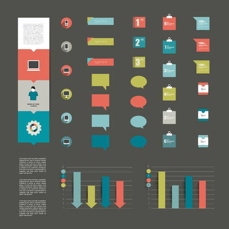 Collection of modern flat infographic elements  Vector   Vector