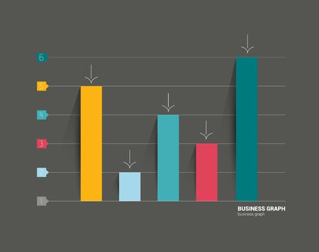 bar chart: Example of business flat design graph on black background  Infographics chart