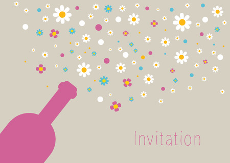 drink me: Wedding and invitation card  Champagne bottle with bubbles  Abstract flower background