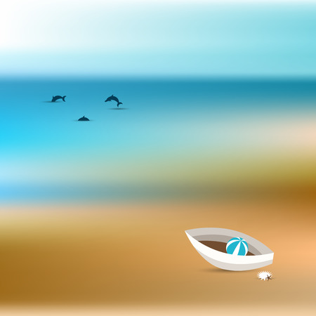 Summer concept  Ocean bluer beach background  Vector painting   Vector