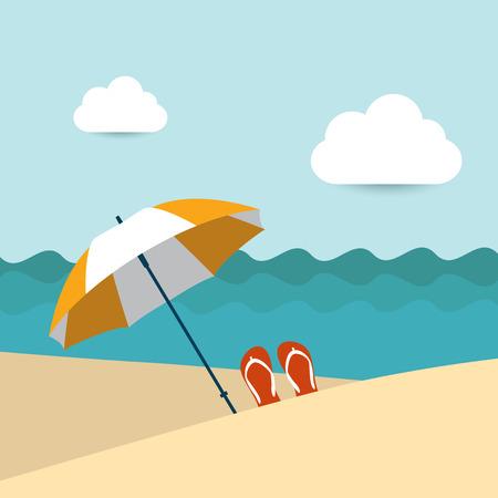Summer beach with yellow umbrella  Flat design