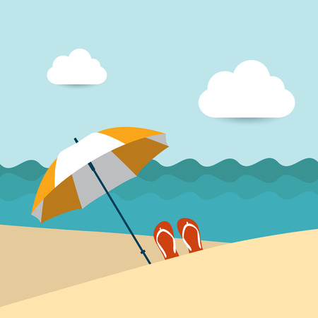 sunny day: Summer beach with yellow umbrella  Flat design