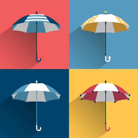 lluvia paraguas: Paraguas firman vector Flat firmar Varios color y diseño sombrilla