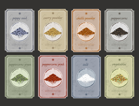 food storage: Retro vintage food and spices storage labels  Vector flat old fashioned etiquette collection