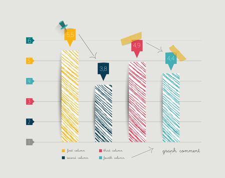column chart: Hand drawn flat column graph  Trend color minimalistic chart for print or web page infographic  Vector