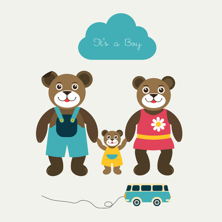 New born baby paper card  Modern color flat design  Vector background illustration  Happy teddy bear family concept   Vector