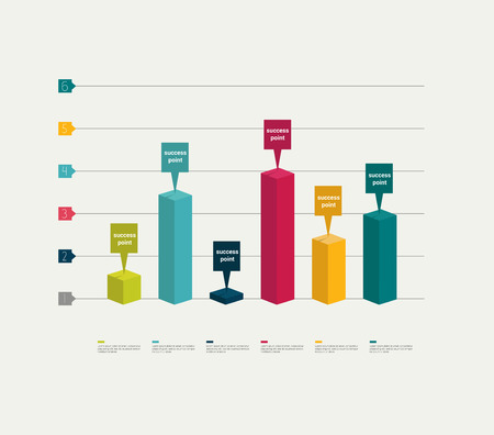 bar chart: 3 D business graph for info graphic