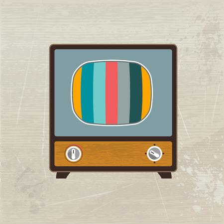 mode retro: Retro mode hout televisie Vector illustratie Stock Illustratie