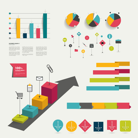 bar graph: Collection of colorful flat infographic elements  Business vector shapes