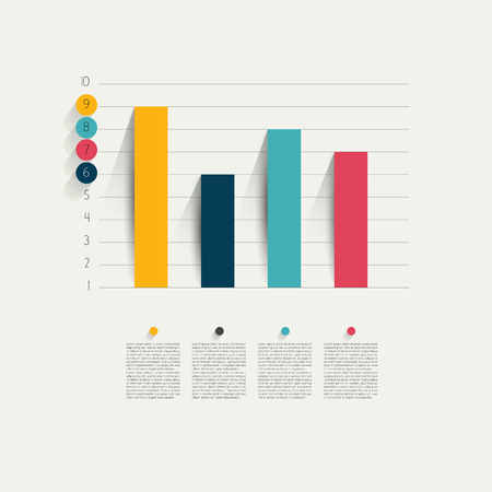 bar charts: Example of business flat design graph  Infographics chart   Illustration