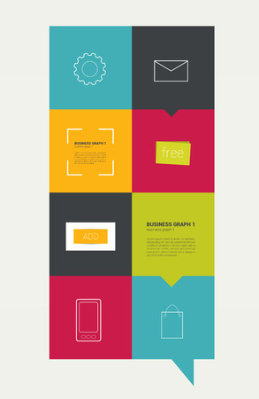 search bar: Infographic flat design template  Colored text field with lined icon  Vector