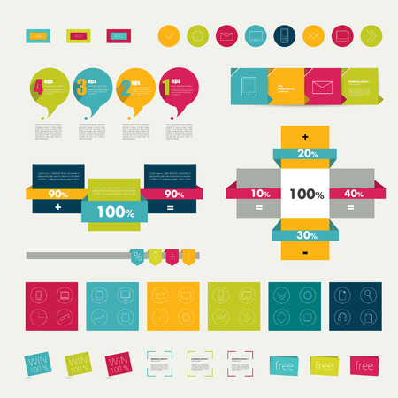Collections of infographics flat design diagrams  Various color schemes, boxes, ribbons, speech bubbles for print or web design  Vector illustration Stock Vector - 28448500