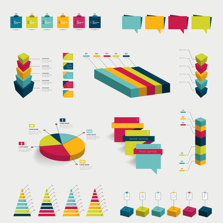 3 d: Collection of colorful flat infographic elements  Colorful 3 D pie charts, speech bubbles, diagrams  Business vector shapes
