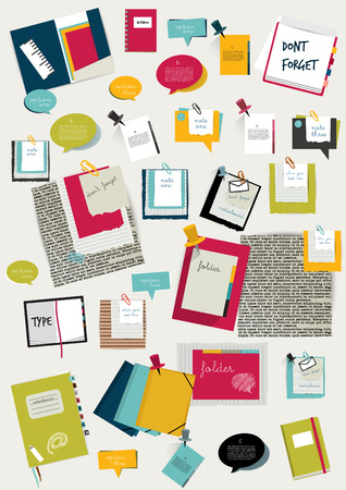 net book: Work office web layout  Colorful flat graphic template  Folder, sticker, tab, data, bubbles set  Vector background