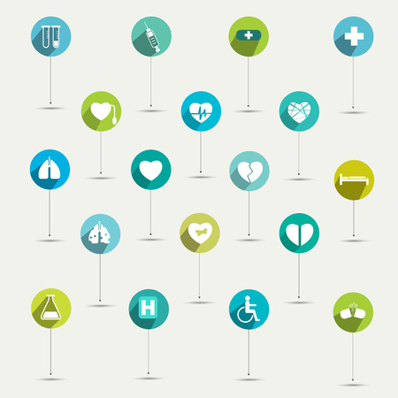 hospice: Simply minimalistic flat hospital and medical symbol icon set  Color shadows pictograms