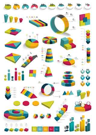 Collections of infographics 3D design diagrams  Various color schemes, boxes, pie charts,, bubbles for print or web design  Vector illustration Stock Vector - 28448544