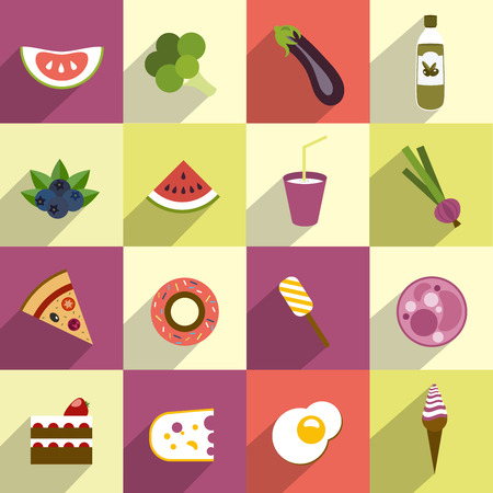egs: Collection of diet and fat food  Fruit, vegetable, cakes, sweets set