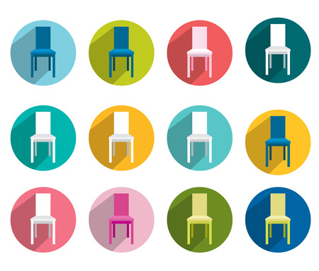 collection of flat colorful chair  Vector shapes