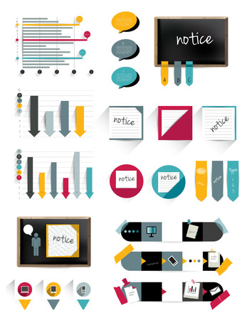 sticky note: Infographics collection of charts, graphs, speech bubbles, notices, paper blocks, stickers, black board and flat icons   Illustration