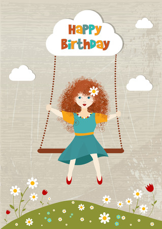Little curly redhead girl on a swing  Vector birthday illustration  Card with girl swinging   Vector