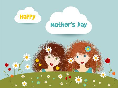 niñas gemelas: Concepto de día de las madres felices Dos hermana pequeña de pelo rizado de color rojo lindo en jardín de flores ilustración vectorial