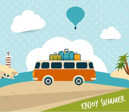 레트로 여행 버스 개념 여름 휴가 벡터 배경