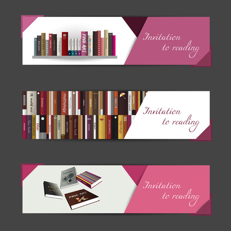 A set of three modern vector banners  Book invitation concept  Vector art background