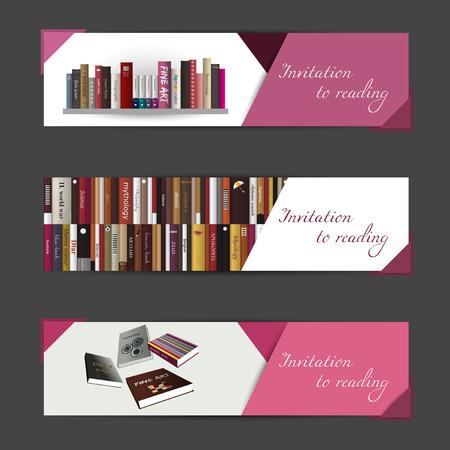 Un conjunto de tres banderas del vector moderno libro concepto invitación del vector fondo de arte