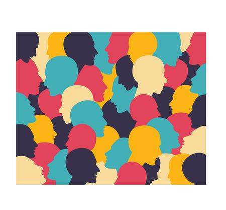 comunity: Human profile head in dialogue  Simply flat design  Vector illustration Illustration