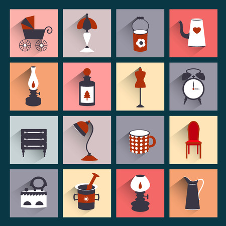 kerosene: Retro style flat shadows icon  Vector vintage design