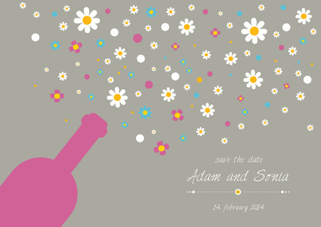 oxeye: Wedding and invitation card  Champagne bottle with floral bubbles  Abstract flat background   Illustration