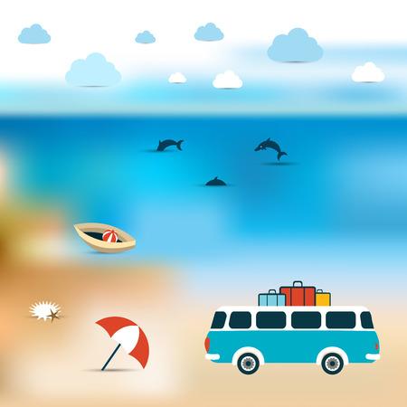 bluer: Summer concept  Ocean bluer beach background  Vector painting