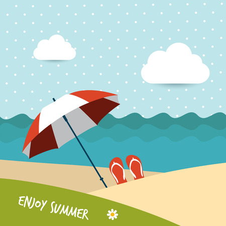 island clipart: Sunlight beach day  red umbrella on tropical island  Vector background illustration