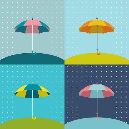umbrella rain: Umbrella sign  Flat vector sign  Various color design parasol Illustration