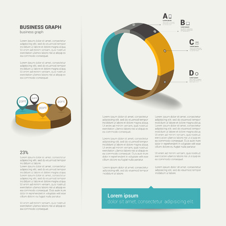 Modern flat page layout with text and chart diagram