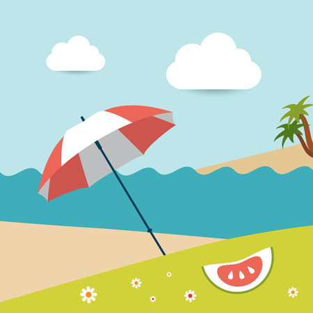 sunny beach: Summer sunny beach day  Vector illustration