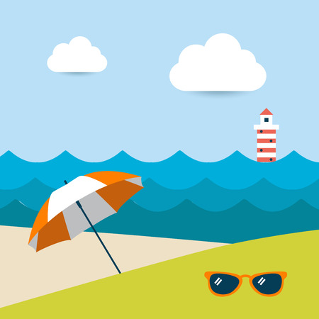 sunny beach: Summer sunny beach day  Vector illustration  Illustration