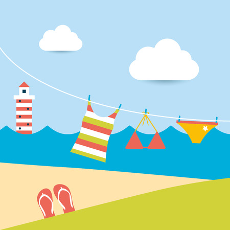 Summer clothes hanging on the washing line  Summer beach background