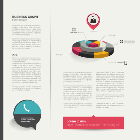 page layout: Modern flat page layout with text and chart diagram