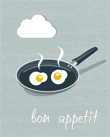 huevos fritos: Ilustración Restaurante vegetariano flyer menú concepto del restaurante Vector