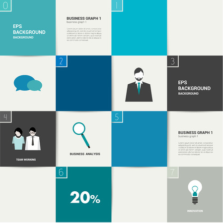 Infographics flat box diagram  Business needs concept  Simply minimalistic editable network scheme  Vector background   Vector