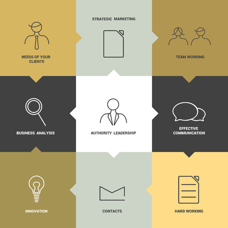 Infographics flat box diagram  Yellow design  Business needs concept  Stroke icon  Vector   Vector