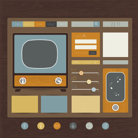 Web site flat design template  Retro concept  Vector  Vector